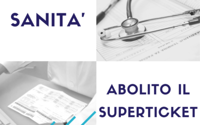 SANITA': ABOLITO IL SUPERTICKET